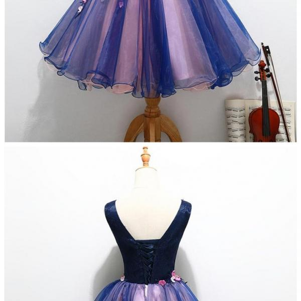 Cute V Neck Unique Handmade Flowers Cheap Homecoming Dress