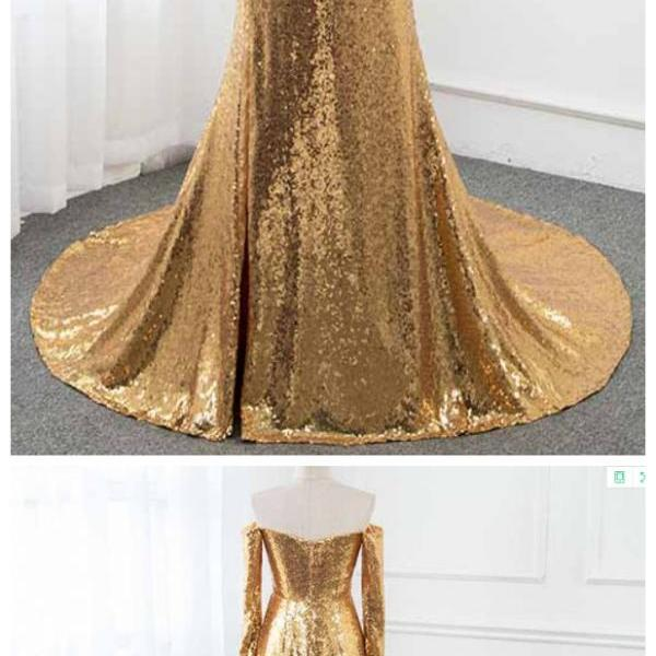 Ruby Outfit Gold Sequins Long Sleeve Prom Dresses Formal Evening Gown Dress