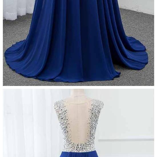 Ruby Outfit Royal Blue Crystals Long Prom Dresses 2020 Chiffon Split Left See Through Back Vestido de Festa