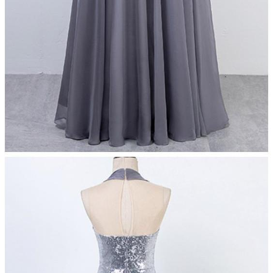 Ruby Outfit Silver Long Prom Dresses Halter Sequins Chiffon Evening Party Gown