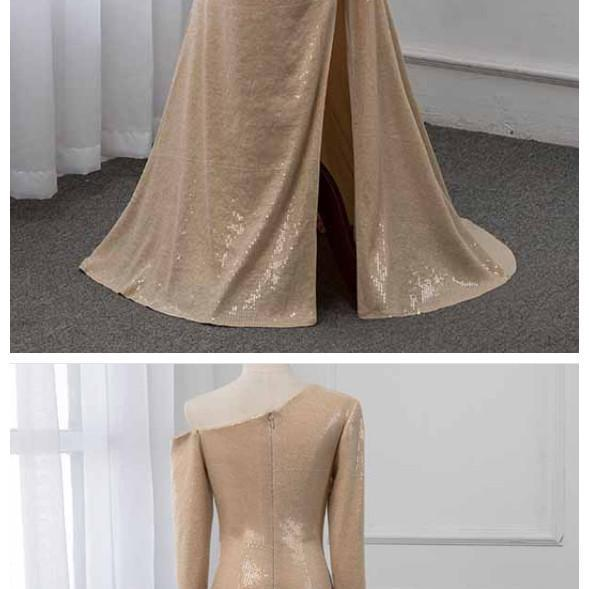 Ruby Outfit 2020 One Shoulder Long Sleeve Prom Dresses Formal Evening Gown Dress Champagne Sequins