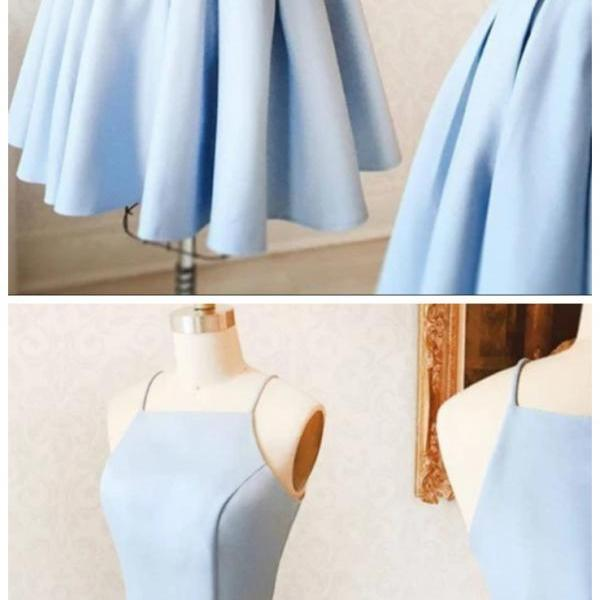 Ruby Outfit simple blue women dresses satin midi dresses evening dresses a-line fashion dress spaghetti-straps homecoming dress