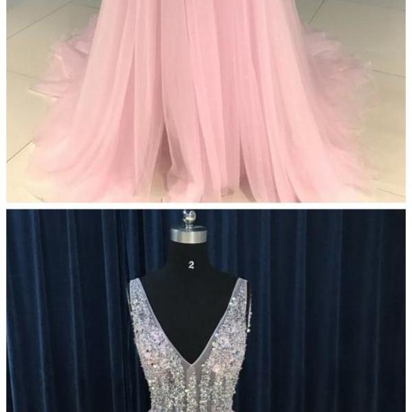 Sexy Sequins V-neckline Tulle Long Prom Dress, Backless Long Formal Dresses