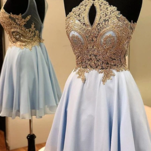 A-line Blue and Gold Short Homecoming Dresses
