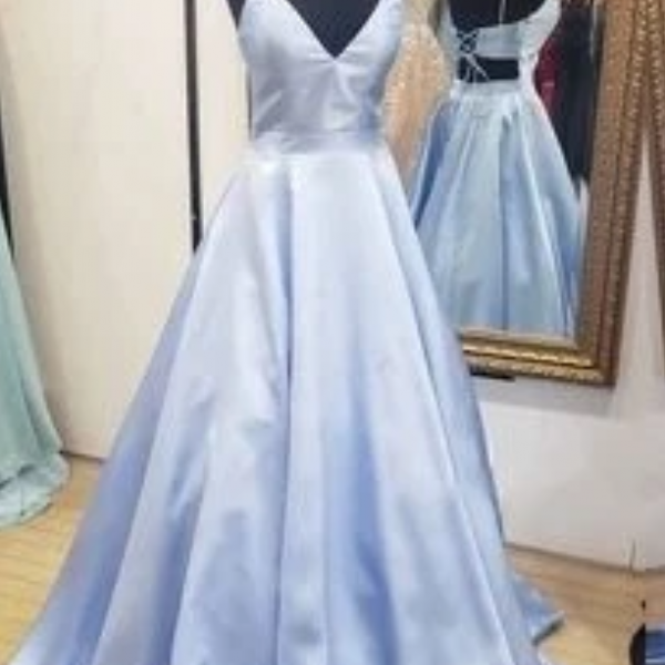 A-line Blue Satin Long Prom Dress with Lace Up Back