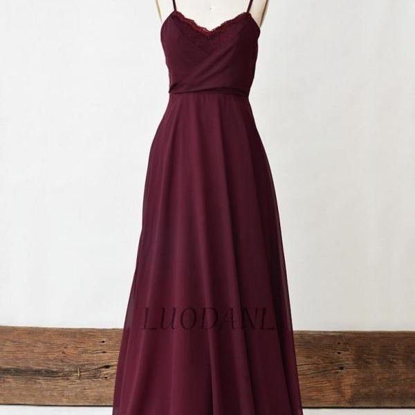 Burgundy Bridesmaid Dress, Lace Long Prom Dress, Spaghetti Strap Chiffon A-Line Bridal Party Dress, Wine Floor Length Maxi Dresses For Women