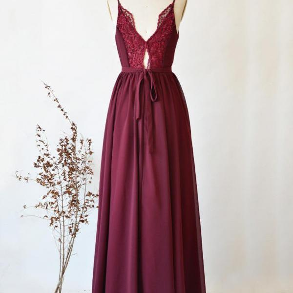 Bridesmaid Dress Long, Wine Chiffon Dress, Lace Back Prom Dress, Spaghetti Strap A-Line Floor Length Formal Dress,Etsy Maxi Dress For Women