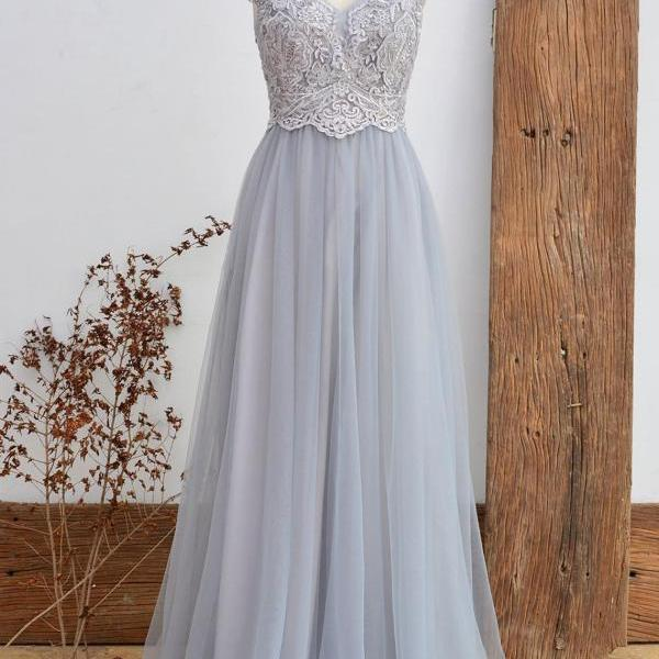 Lace Bridesmaid Dress Dusty Grey Wedding Party Dress Vintage Tulle Women Dress Long Prom Dress 2018 A Line Floor Length Mesh Dress