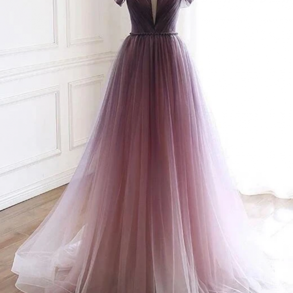 Tulle V-Neckline Long Party Gown, Prom Dress