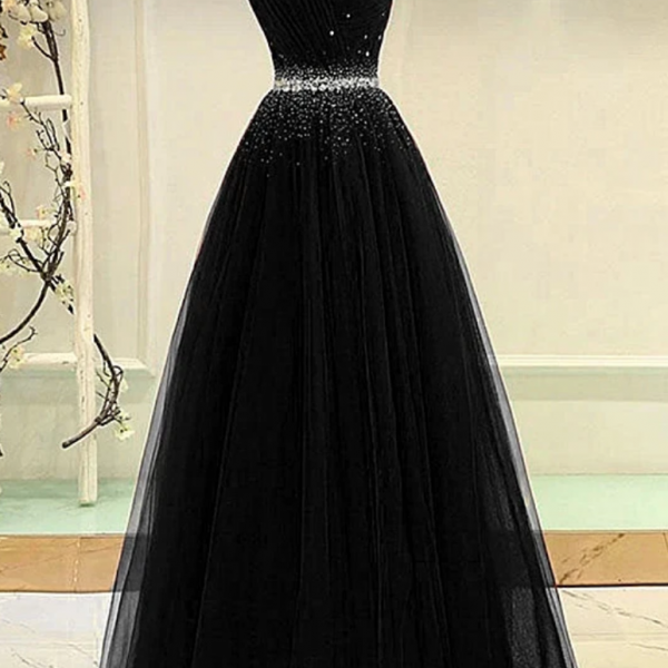 Black Tulle A-Line Long Party Dress, Black Prom Dress