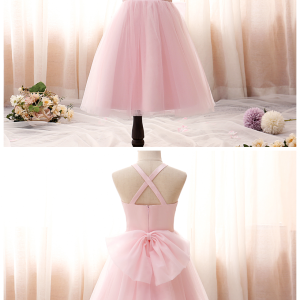Children Clothing Girls Sling Dress Mesh Tutu Dress Cross Back Shoulder Straps Princess Girls Kids Party Dresses 2-14 Yrs