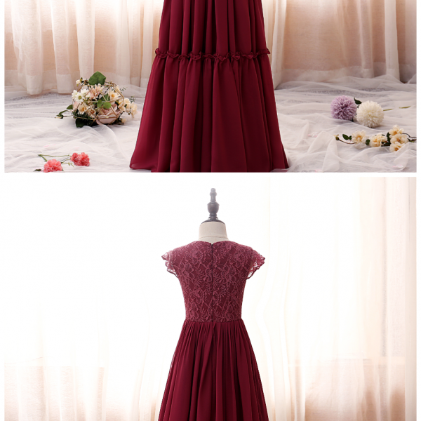 Weddings Children Princess Ball Gowns Petal Sleeve Wine Red High-End Party Ceremony Dress Birthday Banquet Girls Clothes