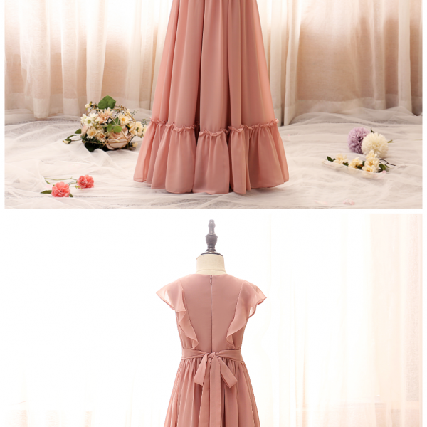 Lovely Flower Girl Dresses Petal Sleeves Tulle 2020 Solid Color Princess Dresses Kids Prom Dresses Girl Ceremonie Clothes