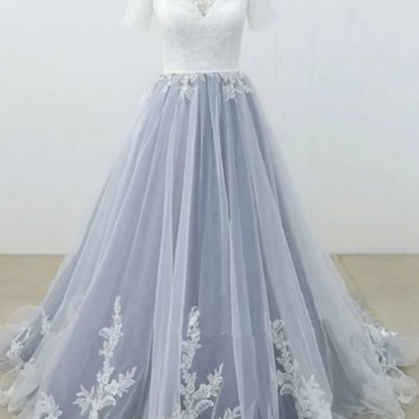 Lace/Tulle Prom Dress With Short Sleeves Fashion Custom Made