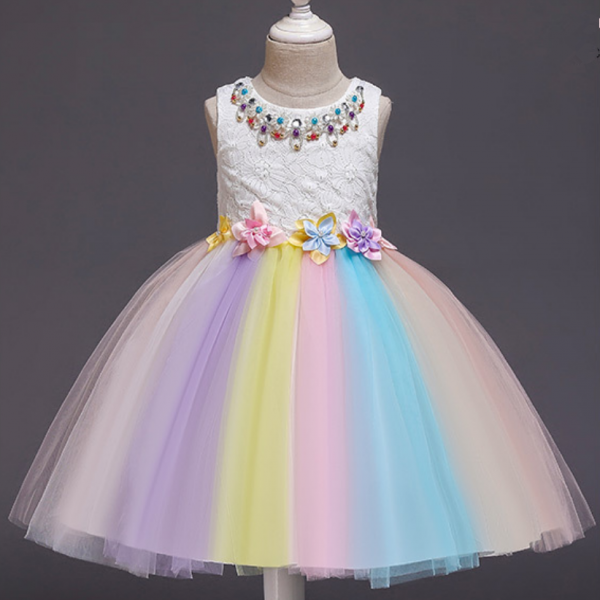 Flower Girl Dresses,Children princess dress puffy dress 2021 summer new lace gauze dress women