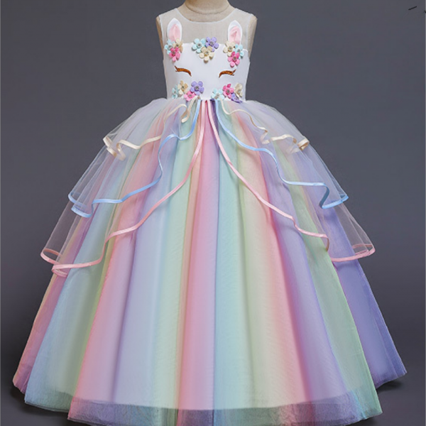 Flower Girl Dresses,new European and American dress dress girl dress unicorn children net gauze rainbow bouffant gauze princess skirt