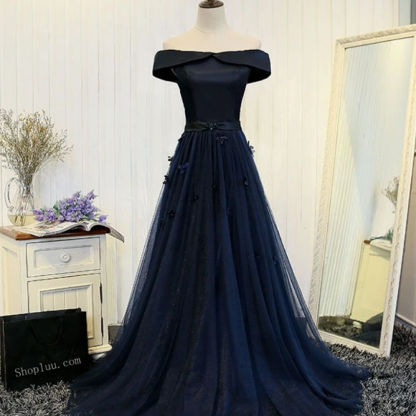 Dark blue off shoulder long prom dress, evening dress