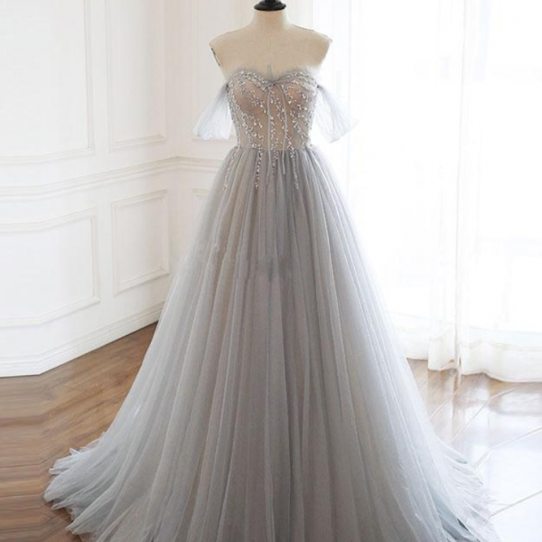 sweetheart tulle beads long prom dress tulle formal dress