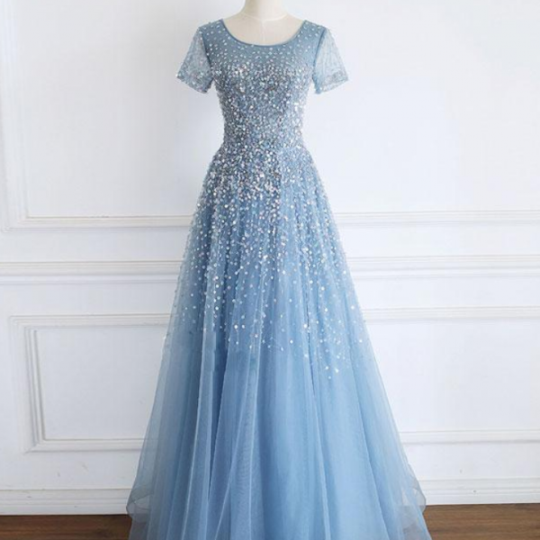 Tulle sequin beads long prom dress tulle formal dress