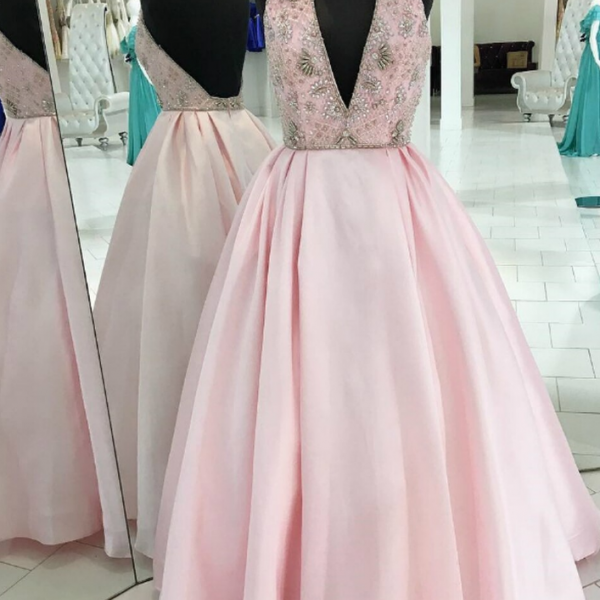 Satin Halter Bakcless Long Prom Dress With Beading