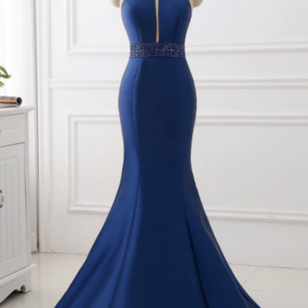 Satin Mermaid Halter Cut Out Backless Long Prom Dress