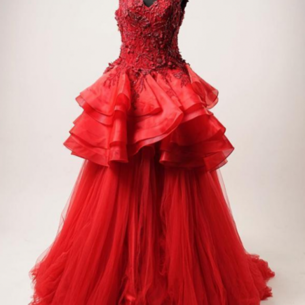 Red Lace Beaded Ruffles A-Line Long Evening Prom Dresses, Evening Party Prom Dresses