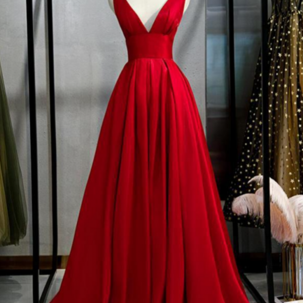 V Neck Simple Red A-Line Long Evening Prom Dresses, Evening Party Prom Dresses