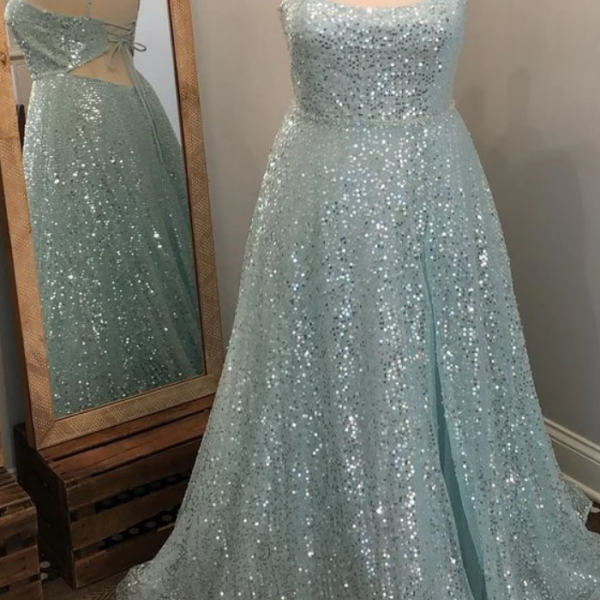 Long Prom Dress with Sequins