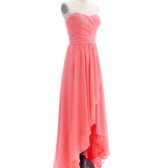 CHARMING STRAPLESS HIGH-LOW CHIFFON Bridesmaid dresses Ball gown Party dresses Strapless Sweetheart Evening dress