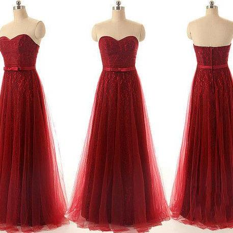 Sweetheart Strapless A Line Wedding Party Dress Elegant Long Burgundy Red Wine Lace Prom Dress Formal Evening Dresses Bridesmaid Dress Burgundy bridesmaid dress wedding party dress
