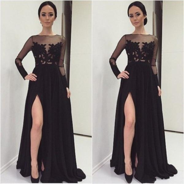 Sexy Black Evening Dress With Slit, Long Prom Dresses, O-Neck Prom Dresses, Real Made Prom Dresses,Chiffon Prom Dresses On Sale