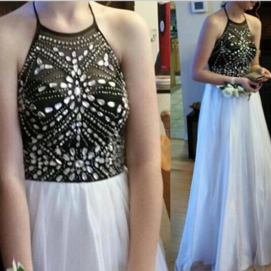 Pretty HIgh Quality Black And White Beadings Halter Prom Dresses, Prom Dresses 2016, Handmade Prom Gown, Evening Dresses