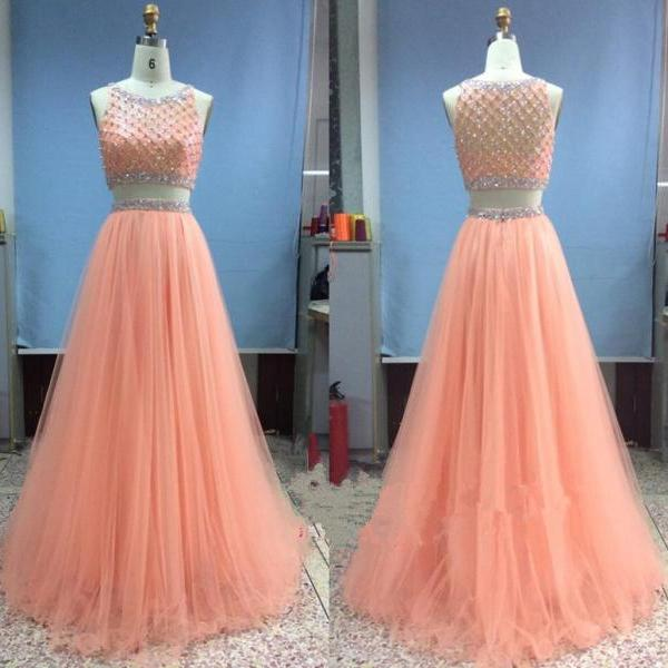 Tulle Long Beadings Two Pieces Light Coral Prom Gowns, Prom Dresses 2016, Evening Gowns, Evening Dresses, Formal Dresses