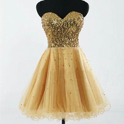 Fashion Hot Sale Sweetheart Gold Tulle And Sequins Short Dress Prom Knee Length Sexy Evening Dress Short
