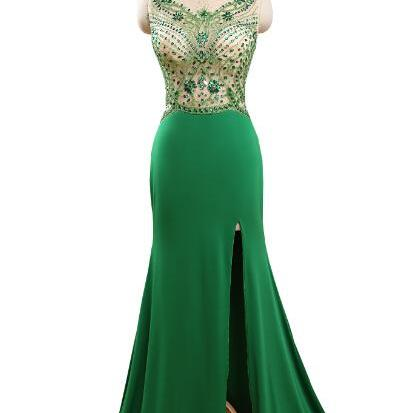 2015 Scoop Sleeveless Mermaid Chiffon Sheer Top Crystals Beading See Through Green Prom Dress Leg Slit Fast Ships