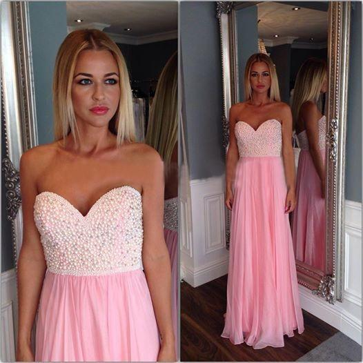Stunning Pearls Pink Prom Dresses 2017 Robe De Soiree Sweetheart Party Evening Gowns Custom Made Cheap Women Summer Dress Vestido Longo