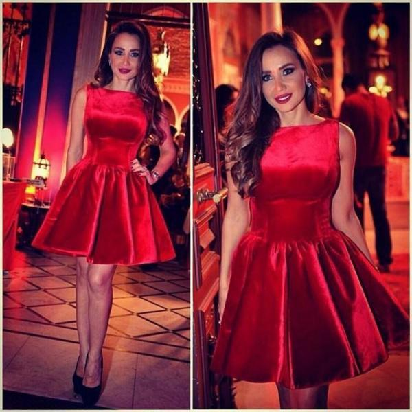 Fashion Short Prom Dresses Knee Length Cheap 2015 Vestido De Festa A Line Bateau Neckline Red Velvet Mini Homecoming Dress Party Gowns