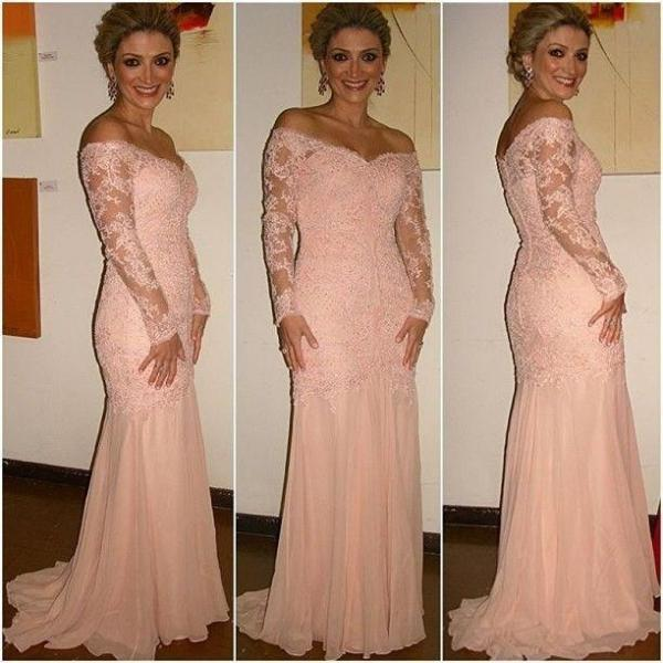 Elegant V Neck Long Sleeve Lace Peach Prom Dresses Vestidos de Fiesta Sexy Off the Shoulder Mermaid Evening Party Gowns