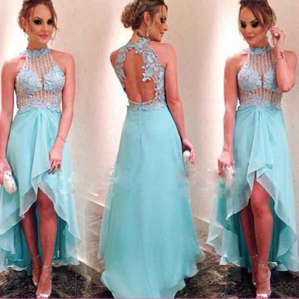 Blue High Neck Lace Hi-Lo Prom Dresses Sheer Fish bone Corset Party Cocktail Dress Appliques Beaded Chiffon Evening Gowns
