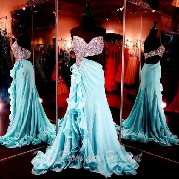 New Arrival Sweetheart A Line Long Chiffon Sky Blue Prom Dresses Graceful Long Evening Beads Rhinestones Hidden Zipper Sleeveless Ruffles