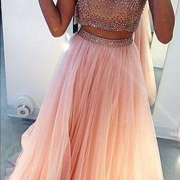 Charming Prom Dress Beading Prom Dress,2 Pieces Prom Dress High Neck Prom Dress Tulle Prom Dress