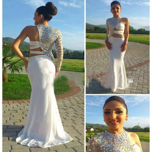 High Quality Prom Dress One-Shoulder Prom Dress Beading Prom Dress Chiffon Prom Dress Charming Prom Dress