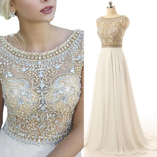 Gorgeous Ivory Prom Dress Cap Sleeve Prom Dresses Beaded Long Evening Dress Sparkly Prom Dress Elegant Prom Dresses Cheap Formal Dresses