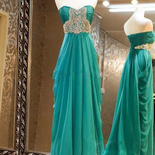 Custom Made New Style Strapless Chiffon A Line Blue-Green Floor Length Formal Prom Dress,New Style Long Evening Dress With Beading,Crystals Graduation Dress For Formal On Sale