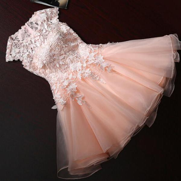 Pretty Cute Short Tulle Pink Prom Dress With Lace Appliques Pink Prom Dresses Cute Prom Dresses Lovely Dresses In Stock