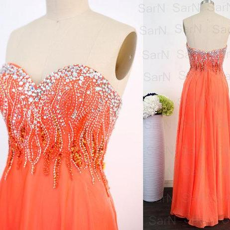 Orange Long Prom Dresses, Custom Orange Strapless Crystal Chiffon Long Formal Gown, Sweetheart Long Prom Gown