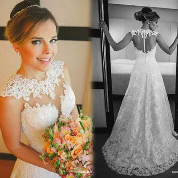 Custom Made A Line Backless Lace Wedding Dresses Lace Wedding Dress Lace Bridal Dresses Bridal Dress Lace Wedding Gowns Lace Dress