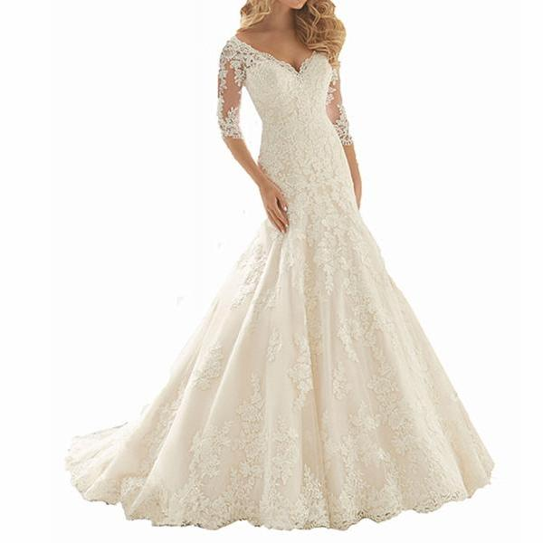 Lace Appliques Plunge V Half Mesh Sleeves Floor Length Mermaid Wedding Dress