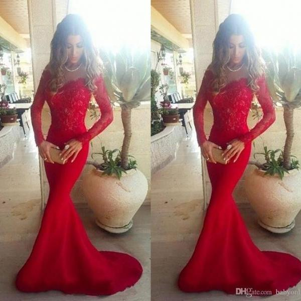 Hot Sale Vestidos De Noiva Long Sleeves Lace Mermaid Evening Dresses Sweep train Lace Formal Prom Gowns 2016 Sexy Girls Party Gowns