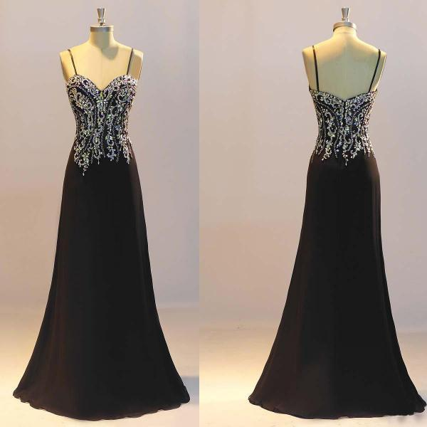 Prom Dresses, Black Prom Dresses,Sheath Prom Dresses, Crystal Evening Dresses ,Custom Made Party Dresses